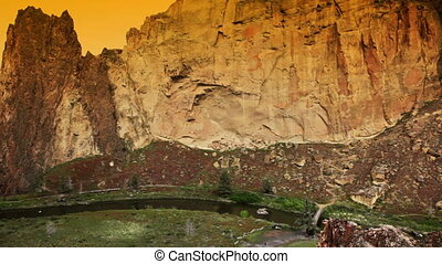 Smith Rock - Sunset at Smith Rock state park, Oregon, pan