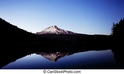 Mt Hood Sunset, time lapse - Sunset over Trillium Lake,...