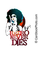 Retro Never Dies - Funky woman with a gun and a cigarette