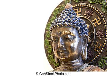 Nepal Buddha with Swastika Lotus Symbols - Nepal Buddha with...