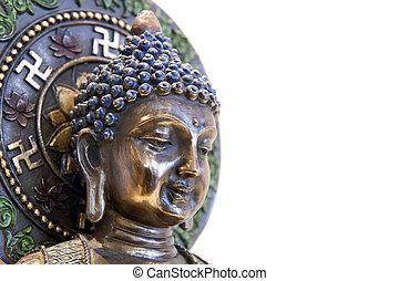 Nepal Buddha with Swastika Lotus Symbols Side - Nepal Buddha...