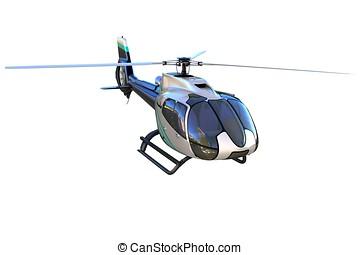 3D, detalhado, helicóptero