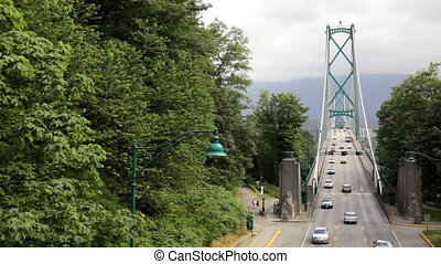 Lions Gate Bridge - Traffic on Lions Gate Bridge, Vancouver,...