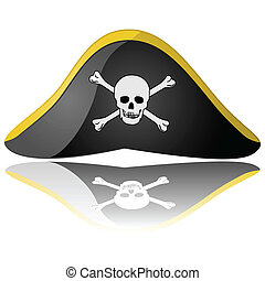 Pirate hat - Glossy illustration of a pirate hat reflected...
