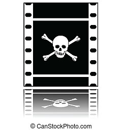 Pirated movie - Concept illustration showing a filmstrip...