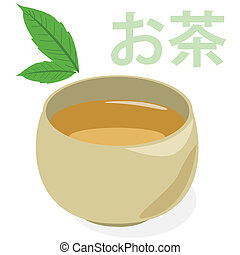 Green tea - Illustration of a cup of green tea under tea...