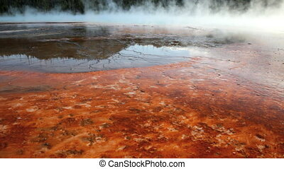 Hot Springs Bacteria Mats - Bacteria mats around the Grand...