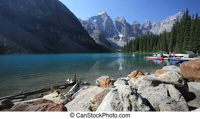 Moraine Lake Canoes - People getting into canoes at Moraine...