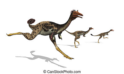 Mononykus Dinosaurs on the Run - Three mononykus dinosaurs...