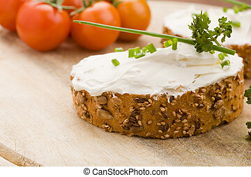 Slice of Bread with creme fraiche - photo of delicious...