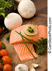 Salmon fillet - photo of delicious salmon filet with lime...