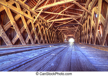 Interior of Watson Mill Covered Bridge - An historic covered...