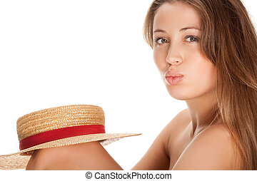 blond woman and straw bonnet