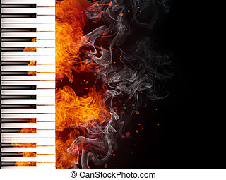 Piano Keyboard in Fire on Black Background. Computer...