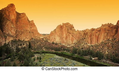 Smith Rock - Sunset at Smith Rock state park, Oregon, dolly...