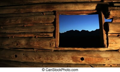 Grand Tetons from Old Pioneer Log Cabin - View of the Grand...