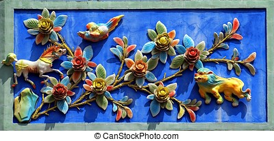 Chinese Temple Wall Decoration - The exterior wall of a...