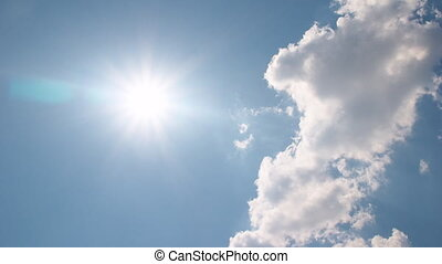 White clouds disappear in hot sky - White clouds flying on...