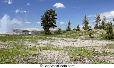 Old Faithful - Crane shot of Old Faithful, Yellowstone...