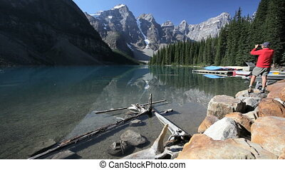 Moraine Lake - Man at Moraine Lake, Banff National Park,...