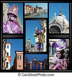 Old Venice collage with masks