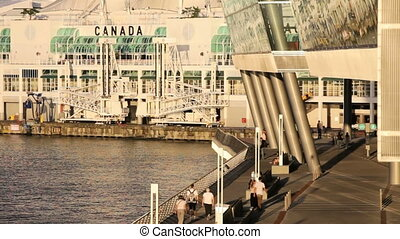 Vancouver Convention Centre - Visitors walking along the...