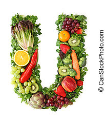 Fruit and vegetable alphabet - letter U