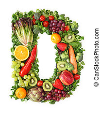 Fruit and vegetable alphabet - letter D
