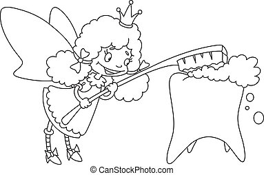 cute tooth fairy outlined - illustration of a cute tooth...