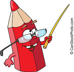 red pencil - illustration of red pencil