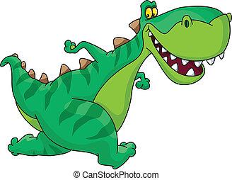 running dinosaur  - An illustration of a running dinosaur