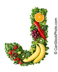 Fruit and vegetable alphabet - letter J