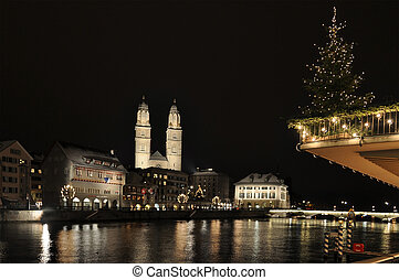 Zurich downtown decorated for Christmas