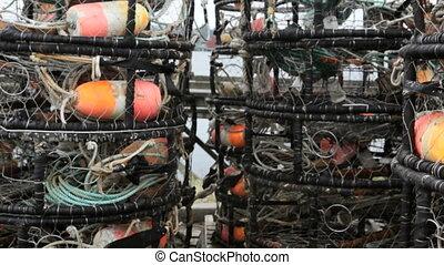 Crab Pots - Stack of empty crab pots, Oregon, dolly shot