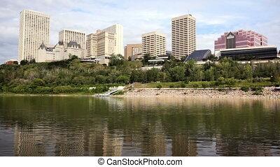 Edmonton Skyline - Waterfront view of downtown Edmonton, AB