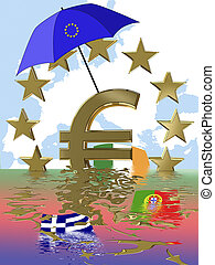 Euro crisis - Symbol for the current euro crisis which...