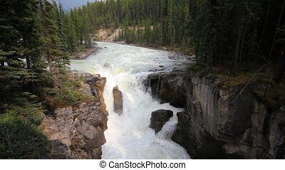 Sunwapta Falls - Waterfall in Jasper National Park, Alberta,...