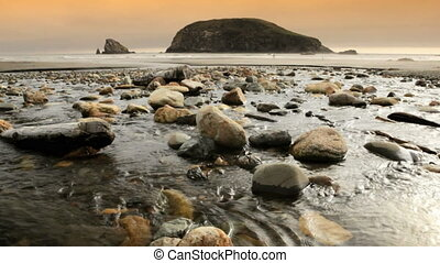 Oregon Coast - Oregon coast, Harris Beach, dolly shot,...