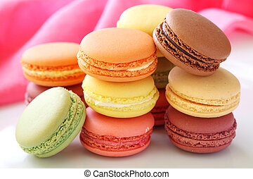 Colorful macaroons close up