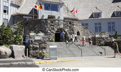 Timberline Lodge Entrance - People entering Timberline...