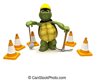 tortoise with a spade and pick axe with hazard cones - 3D...