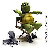 tortoise in a directors chair - 3D render of a tortoise in a...