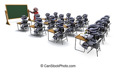 robot teacher in classroom - 3D render of a robot teacher in...