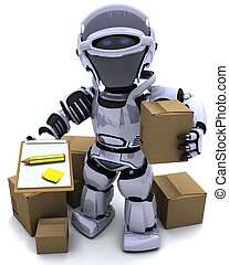 Robot with Shipping Boxes - 3D render of Robot with Shipping...