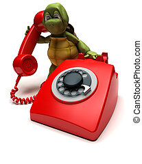tortoise with a telephone - 3D render of a tortoise with a...