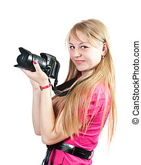 Blonde girl with camera