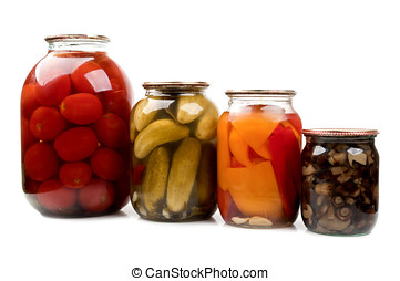 marinated tomatoes and cucumbers isolated on a white...