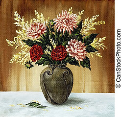 Dahlias in a ceramic vase - Picture oil paints on a canvas:...