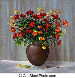 Marigold in a clay pot - Picture oil paints on a canvas: a...