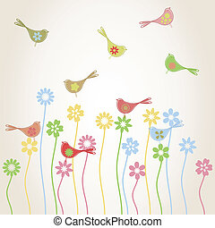 bird - Birds fly over a glade with plants. A vector...